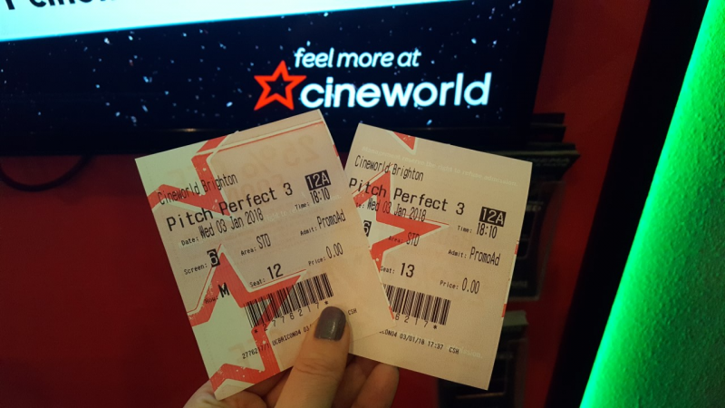 Hand holding 2 cinema tickets for Pitch Perfect 3 at Cineworld