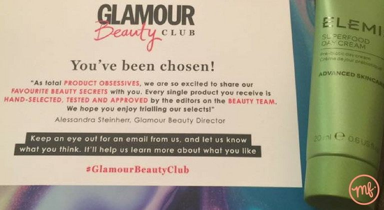 Green tube of Elemis Superfood Day Cream with a Glamour Beauty Club instruction card