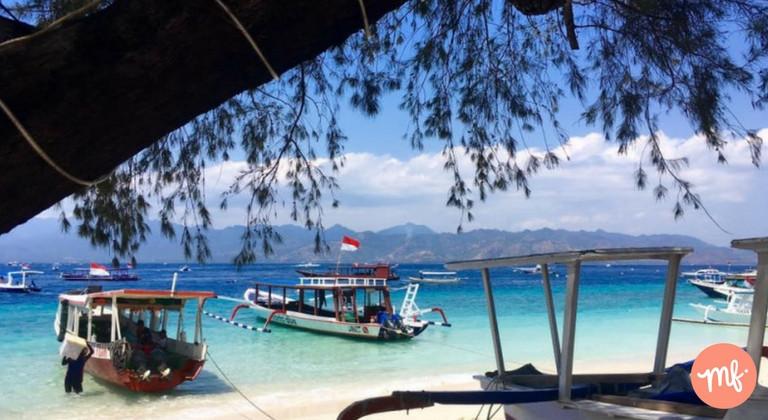 Boats on the shore of Gili Trawangan, off the coast of Bali