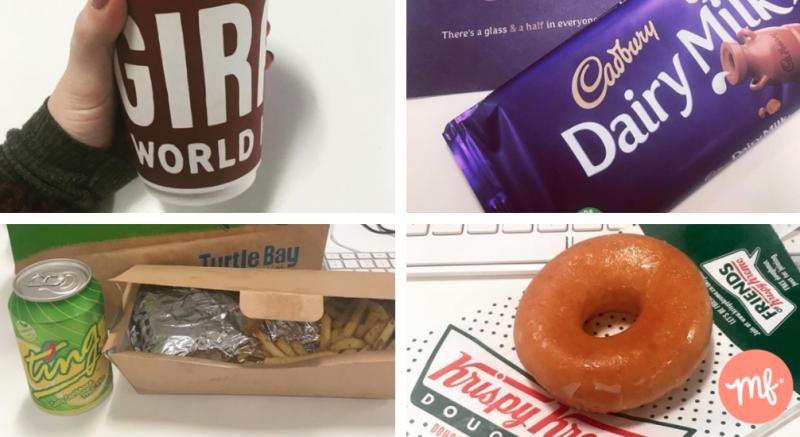 4 pictures of free food: hand holding free takeaway coffee, bar of cadbury dairy milk, Turtle Bay takeaway lunch and Krispy Kreme doughnut
