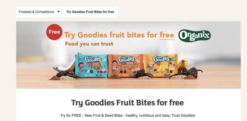 Screenshot of Sainsbury's website showing free snack