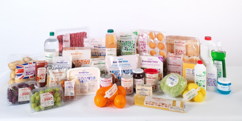 Food shop from Tesco own brand - Everyday Value