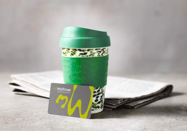 Free tea or coffee in a reusable cup, with a myWaitrose card and newspaper
