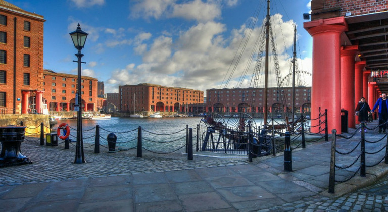View of Liverpool's Albert Dock, including the Tate Liverpool and Maritime Museum