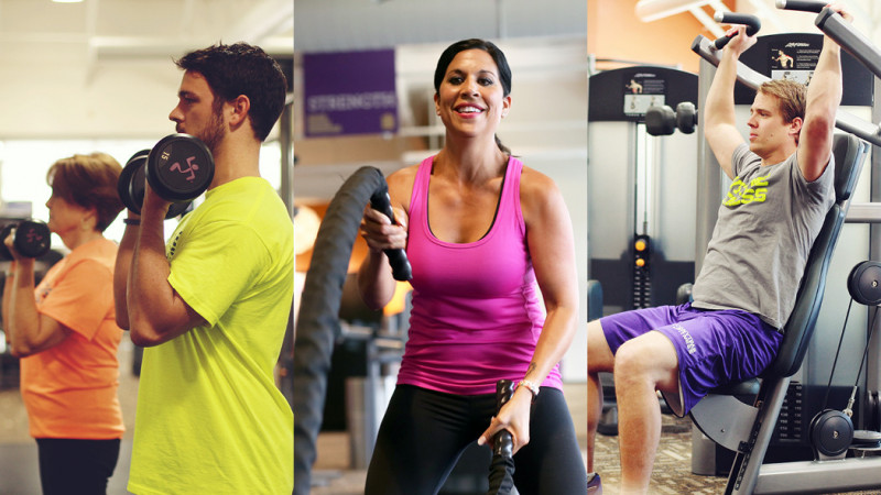 3 images of people working out at the gym: man in yellow top lifting dumbells, woman in pink top using workout ropes and man using shoulder press