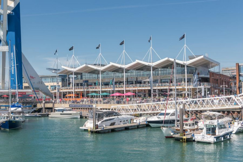 Outside of Gunwharf Quays shopping outlet centre