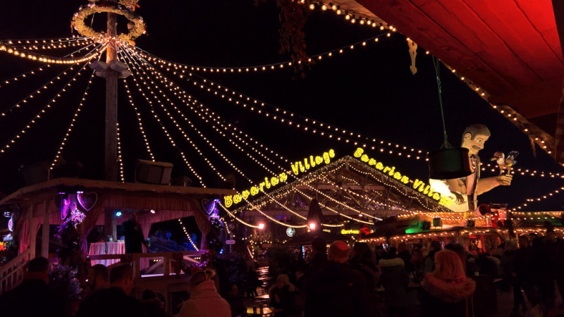 Hyde Park, London Winter Wonderland at night. Outside of the Bavarian Village bar