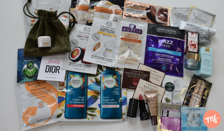 Collection of free beauty products received from online