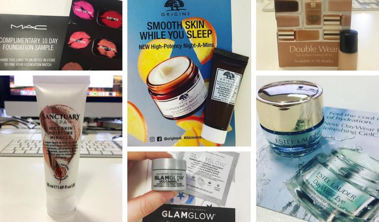 Collection of free beauty products received from Magic Freebies WhatsApp: MAC Lipstick Samples, Sanctuary Moisture Miracle, Origins Night Cream, GLAMGLOW Moisturiser, Estee Lauder Eye Cream, Estee Lauder Foundation