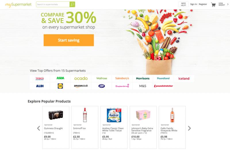 Screenshot of mySupermarket website