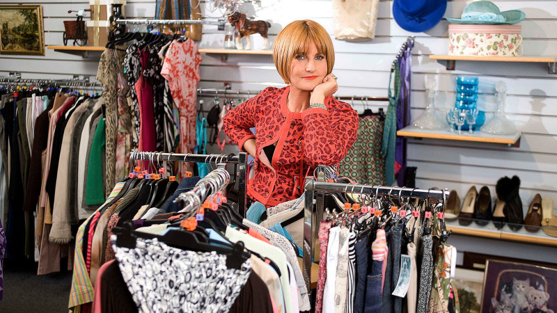 TV personality Mary Portas inside a charity shop as part of programme 'Mary Queen of Shops'