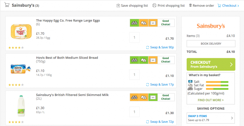 Screenshot of mySupermarket shopping with Sainsbury's