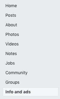 Screenshot of Facebook side bar