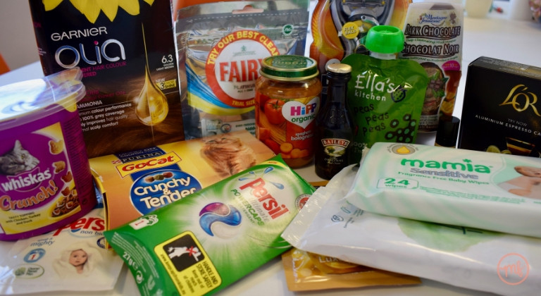 Collection of freebies achieved through company giveaways, from Fairy, Persil HiPP & more