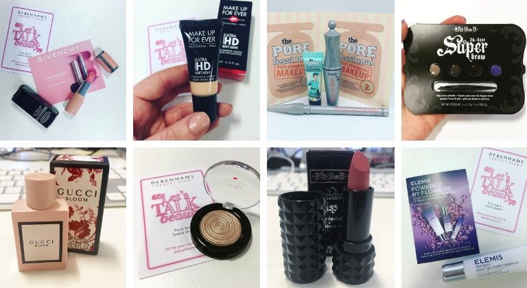 Collection of freebies from Debenhams Beauty Club