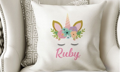 Free Personalised Unicorn Cushion Cover