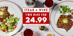 Steak & Wine for Two for £24.99