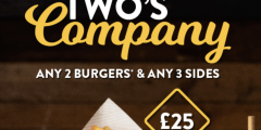 Two Burgers & Three Sides for £25