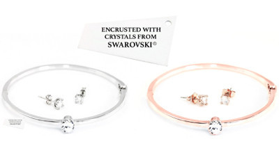 Free Charlotte Bangle & Earring Set Encrusted with Crystals from Swarovski