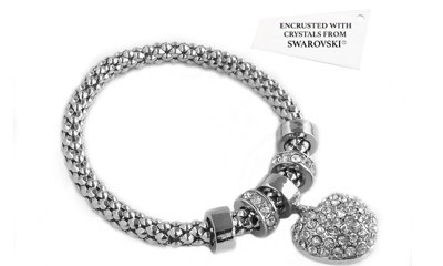 Free Heart Onyx Bracelet Encrusted with Crystals From Swarovski