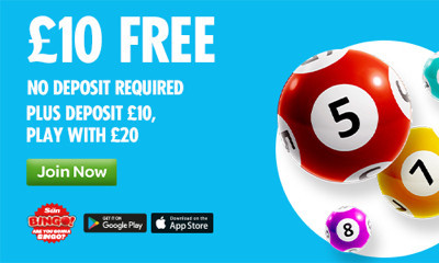 Free £10 of Bingo with Sun Bingo - NO DEPOSIT REQUIRED