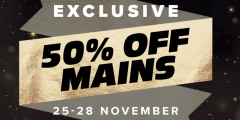 Black Friday: 50% off Mains