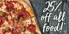 25% Off All Food