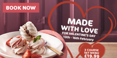 Valentines: 3-Courses for £19.99