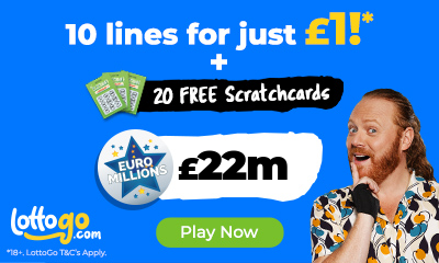 £22M Euromillions Jackpot - 10 Lines for £1 + 20 Free Scratchcards!