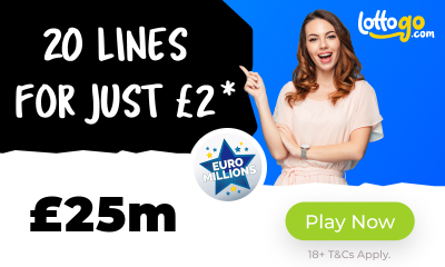 £25M Euromillions Jackpot - 20 Lines for £2*