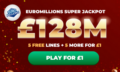 £128M Euromillions Super Jackpot - 10 Lines for £1