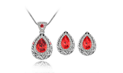 Free Water Droplet Necklace and Earring Set