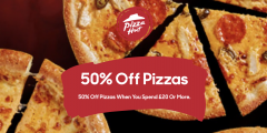 50% off Pizzas