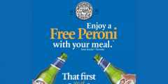 Free Peroni with a Main Meal