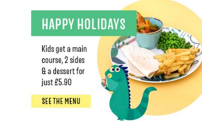 "<span class=""merchant-title"">Las Iguanas</span> | Kids 4-Dish Meal for £5.90"