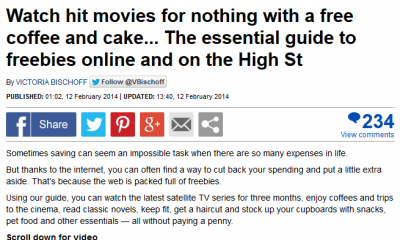 Magic Freebies UK in the Daily Mail