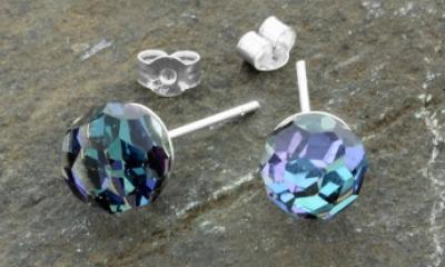 Free Crystal Ball Sterling Silver Stud Earrings